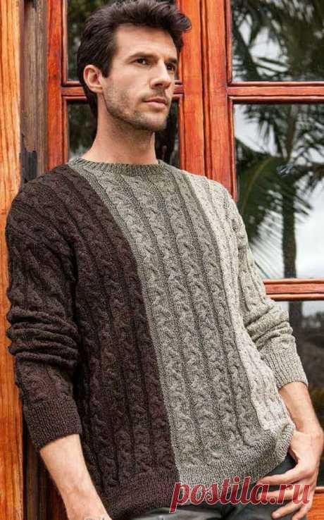 Мужской пуловер с косами. Описание, схема, выкройка — Бабушкины секреты