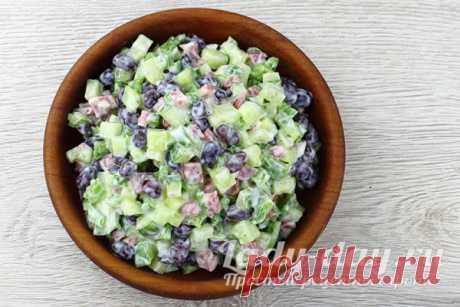 Салат с фасолью и копченой колбасой, вкусный рецепт с фото | Простые рецепты с фото