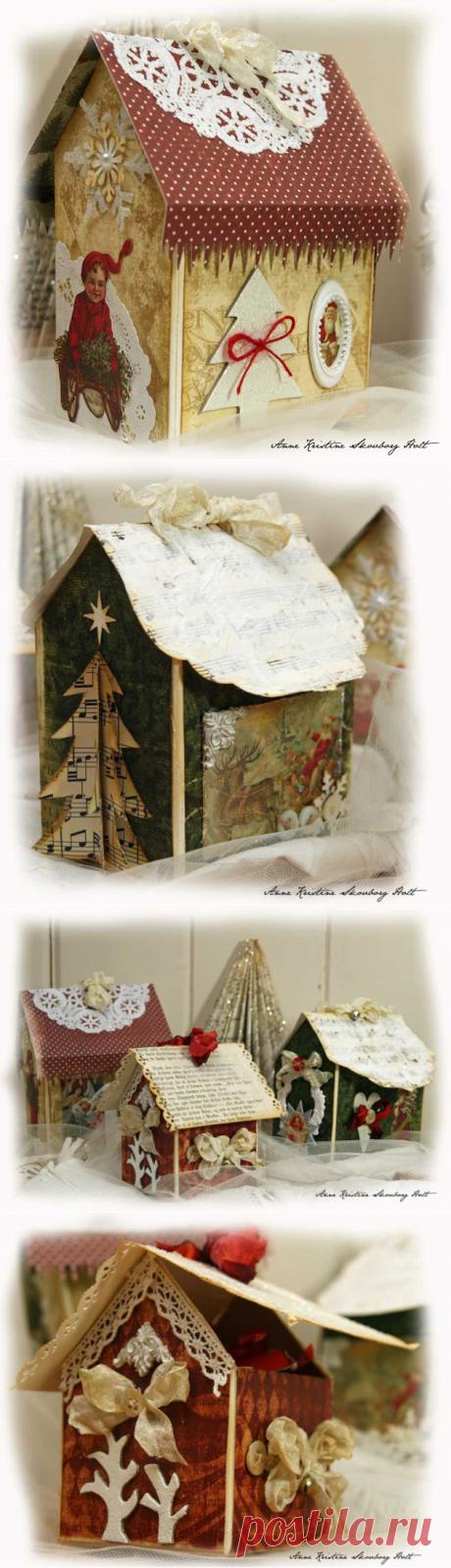 Рождественский домик из упаковки из под молока, МК