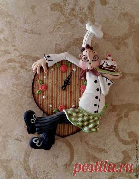Мастер-класс по лепке из соленого теста. Часы с маятником «Веселый повар» – Ярмарка Мастеров