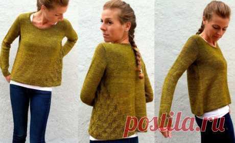 ОРИГИНАЛЬНЫЙ ПУЛОВЕР  Оригинальный вязаный пуловер Princess Fiona выполняется спицами сверху вниз. Эффектный ажурный узор асимметричной формы украшает левую боковую сторону.  Конструкция пуловера предусматривает идеальную посадку в области горловины. Дизайнер Amy Miller.  Описание составлено для десяти размеров.  Обхват груди: 34 (36, 38, 40, 42, 44,) (46, 48, 50,52) дюймов или 85 (90, 95, 100, 105, 110) (115, 120, 125, 130) сантиметров. На образце показан размер 90 см, с ...