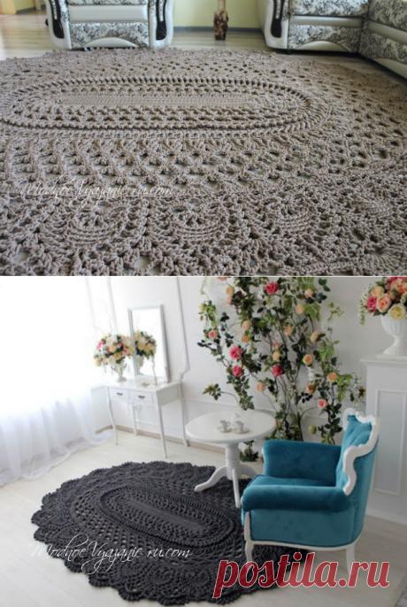 Овальный коврик *Майское чудо* крючком - Crochet.Modnoe Vyazanie ru.rom