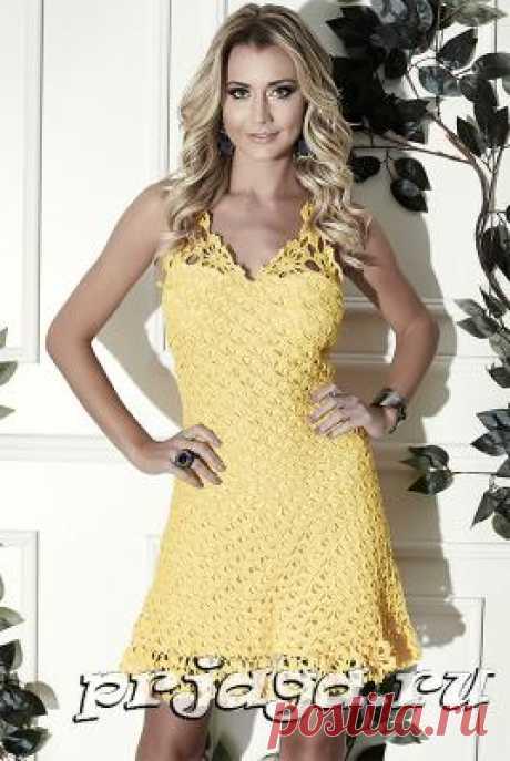 Желтое платье крючком