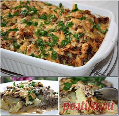 Potato baked pudding with forcemeat and mushrooms