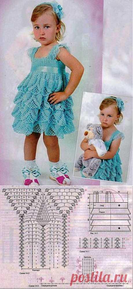 Вязаное платье для девочки крючком.