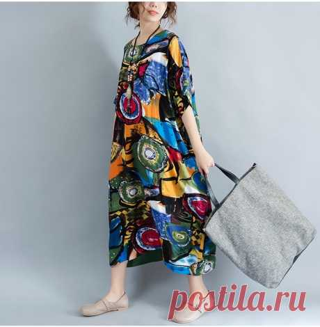 Pattern Print Linen Colorful Female Loose Batwing Casual Retro Vintage - idetsnkf