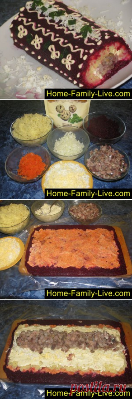 Селедка под шубой, рулет/Сайт с пошаговыми рецептами с фото для тех кто любит готовить