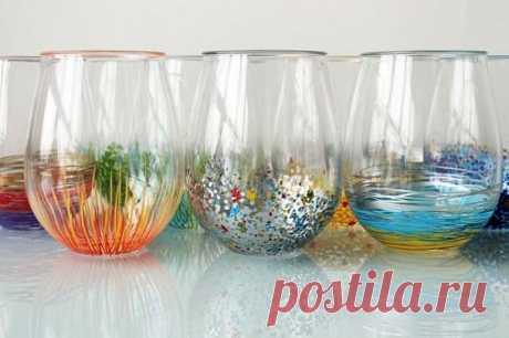 Декор стаканов своими руками