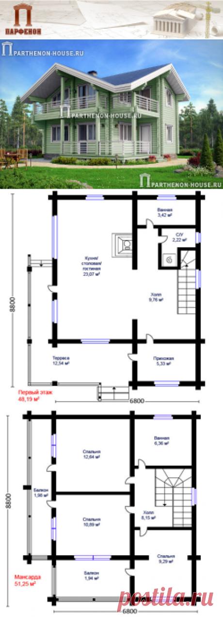 Проект небольшого дома из бруса для строительства на узких участках МКБ 99-44  Площадь застройки: 71,95 кв.м. Площадь общая: 99,44 кв.м. Площадь дома: 98,32 кв.м. Площадь жилая: 55,89 кв.м. Высота 1 этажа: 2,750 м. Высота в мансарде: от 1,570 м. до 5,300 м. Высота дома в коньке от уровня земли: 7,320 м.   Технология и конструкция: строительство дома из клееного бруса. Фундамент: свайный. Стены: клееный профилированный брус (200х180 мм.) тонировка цветом.