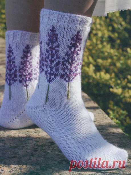 Вязаные носки «Люпины» | ВЯЗАНЫЕ НОСКИ