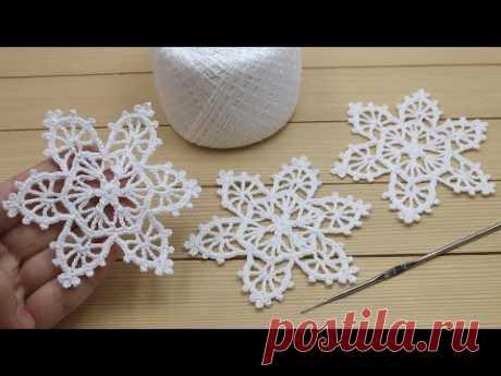 СНЕЖИНКА КРЮЧКОМ мастер-класс по вязанию МОТИВ ирландского кружева How To Crochet a Snowflake