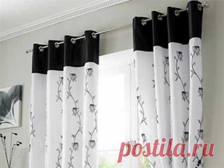 Черно-белые шторы для кухни