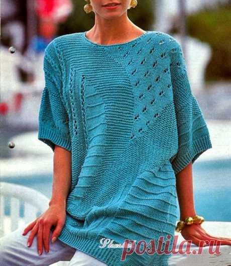 Летний пуловер из разных узоров Вязаный спицами разными узорами летний пуловер. Описание  Размер: 40-44