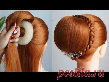 Красивые Прически Быстро - прическа женская  New Bun Hairstyle Using Donut