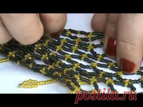 """Мастер класс . Ожерелье """"Косынка"""". Сложные изделия из бисера для начинающих."""