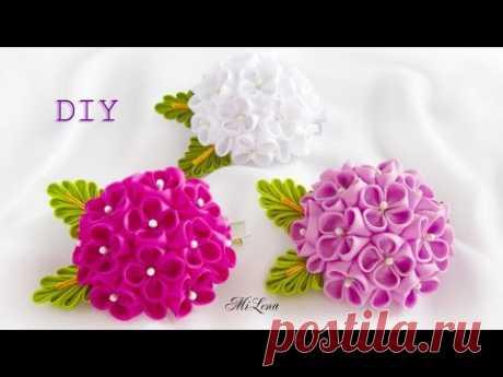 ЦВЕТОК КАНЗАШИ полушар, МК / DIY Hemisphere ribbon flower