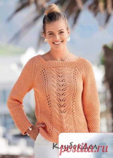 Вязание спицами для женщин - асимметричный пуловер покроя реглан, схема с описанием