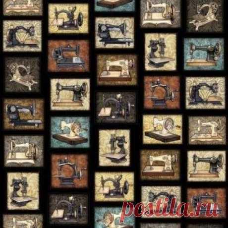 Старые швейные машинки на черном 1613-002 - Старый портной <- RJR <- Ткани - Каталог | StitchCraft
