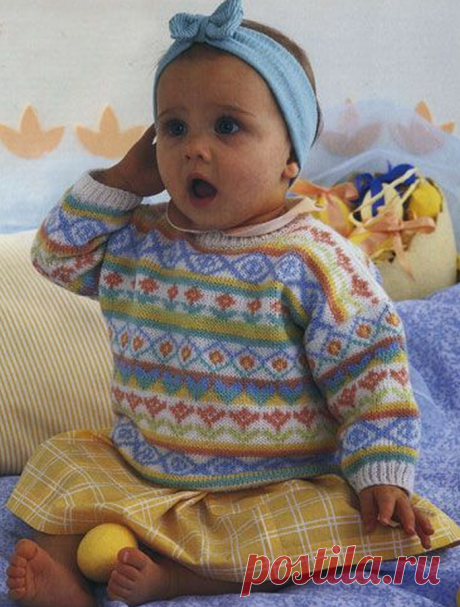Жаккардовый пуловер для малышки | Неспец по спицам | Яндекс Дзен