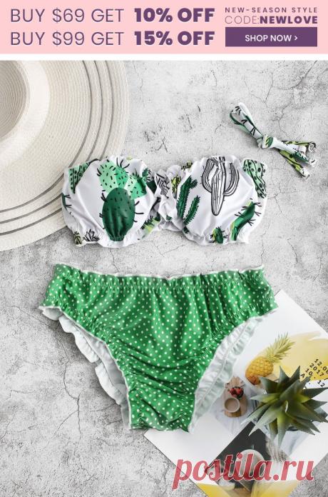 [45% OFF]  2020 Cactus Print Polka Dot Lettuce Trim Bikini Swimsuit In GREEN APPLE | DressLily