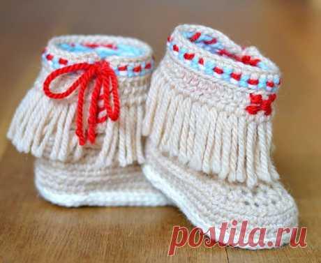 Ravelry: Moccasin Fringe Booties pattern by Caroline Brooke