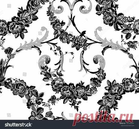 Стоковая векторная графика «Floral Lace Seamless Pattern» (без лицензионных платежей), 1181620591: Shutterstock