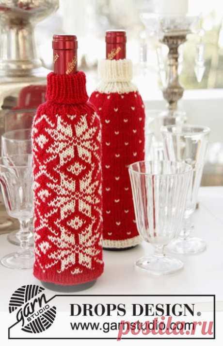 """Новогодний наряд для винной бутылки """" Схема и описание"""