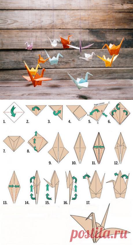Как сделать журавлика из бумаги — схема оригами
