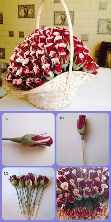 Корзина с цветами-конфетами из гофрированной бумаги — Сделай сам, идеи для творчества - DIY Ideas