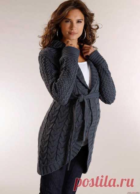 Вязание спицами теплой женской кофты с воротником к зиме. Подробная схема с фото для начинающих