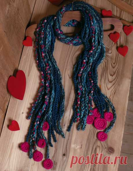 Шарф из шнуров - схема вязания крючком. Вяжем Шарфы на Verena.ru