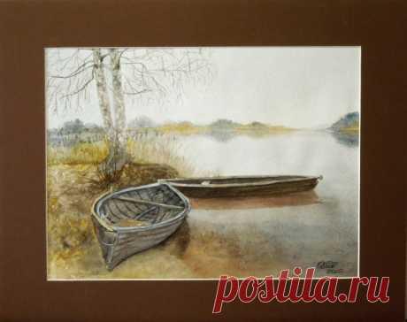 """Сельские Пейзажи -№ 251 """"Две лодки у берега""""  - OLASUN - картины акварелью"""