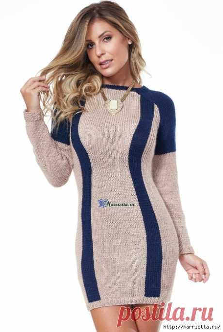 Платье спицами, которое будет стройнить