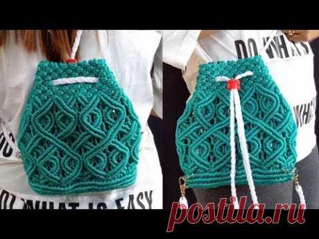 Macrame Bag New Design | Handmade Macrame Bag | DIY Macrame Backpack Tutorial - YouTube
