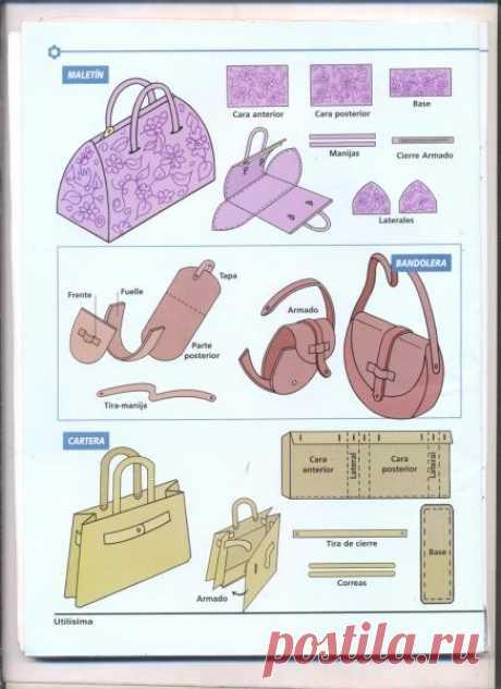 Los patrones simples de las bolsas (la elección) la ropa A la moda y el diseño del interior por las manos