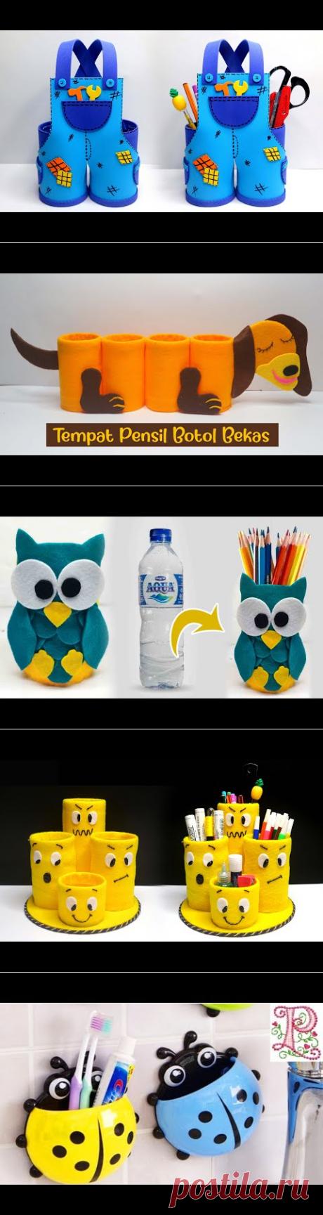 Ide Kreatif Tutorial tempat pensil dari botol plastik bekas aqua 600 ml / Plastick bottle pen holder - YouTube