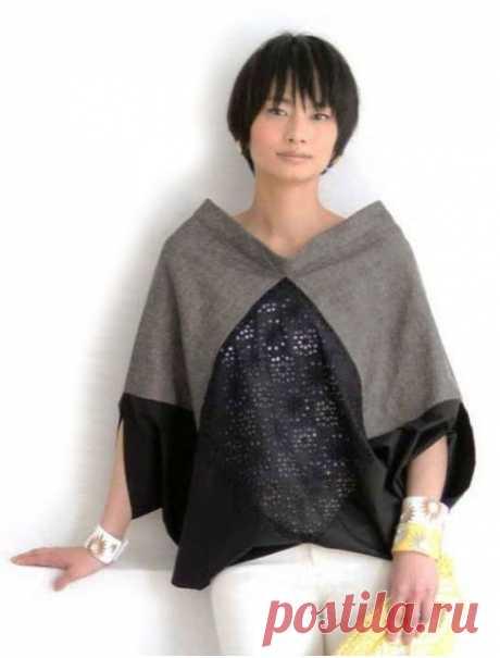 Креативная блуза из прямоугольников    Такую интересную и очень простую по крою блузу можно сшить буквально из нескольких небольших отрезов ткани, оставшихся от предыдущих творений. Важно только подобрать подходящие по колористике и с…
