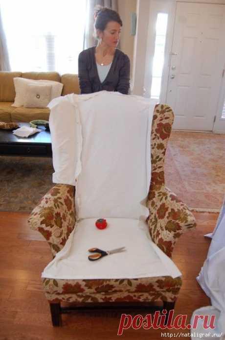 Как обшить кресло и диван другой тканью