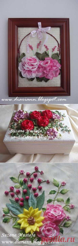 Вышивка лентами. Идеи от Suzana Mustafa.