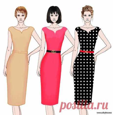 Элегантное платье-футляр в стиле 50-х годов. Готовые бесплатные выкройки в натуральную величину в шести размерах вы можете скачать по ссылке ниже. Размер 36 Вам потребуется: Платье - 450 (300) г пряжи розового цвета (55 % хлопка, 45 % полиамида, 80 м/50 г); спицы No 4,5; крючок No 3. Планка - 3 пуговицы (диаметр 6 см). Вязаное крючком платье-футляр Описание вязания платья-футляра: Спинка: наберите 101 п. и вяжите по схеме 1. На высоте 4 см от начала вязания начните формировать пройму для спинк…