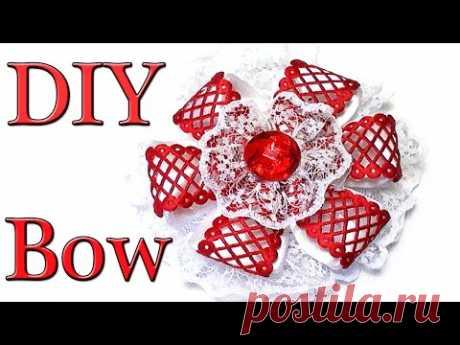 DIY kanzashi hair bow | Бантик из Ленты