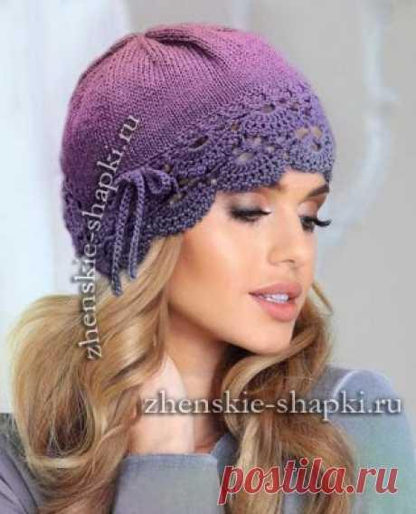 Вязание женской шапки с кружевом новинки 2017 года