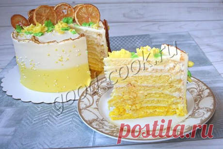 """Торт """"Лимонная Молочная девочка"""" с градиентом   Хорошая кухня   Яндекс Дзен"""
