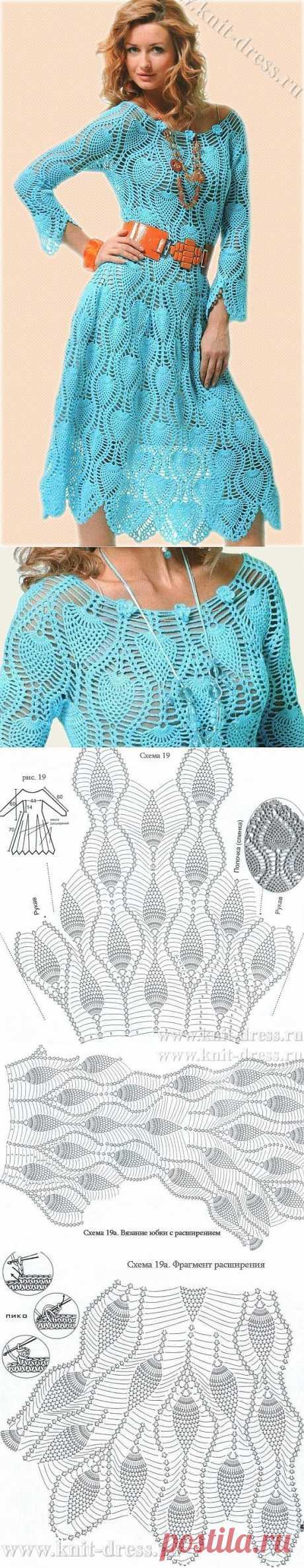 Платье крючком узором Ананас