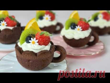 Как приготовить фруктовый мини-пирог / рецепт чашки шоколадного печенья / Рецепт шоколадного печенья