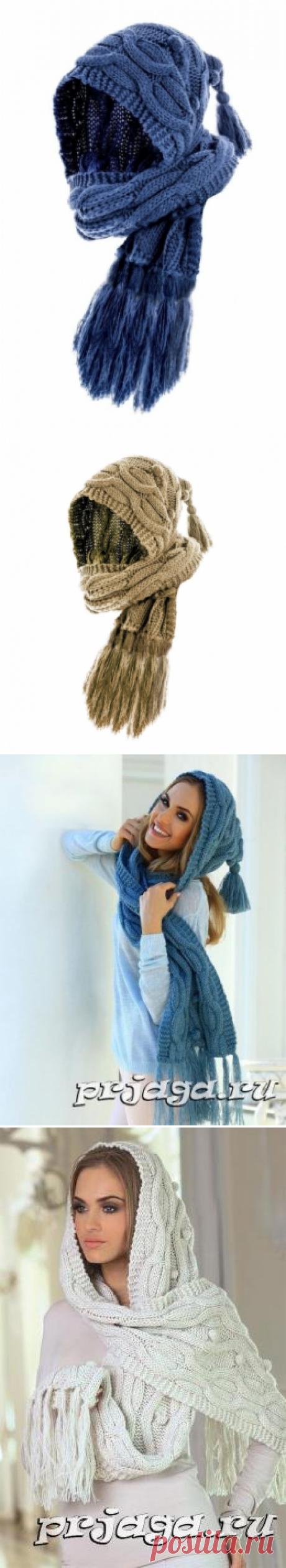 Шапка – шарф башлык спицами