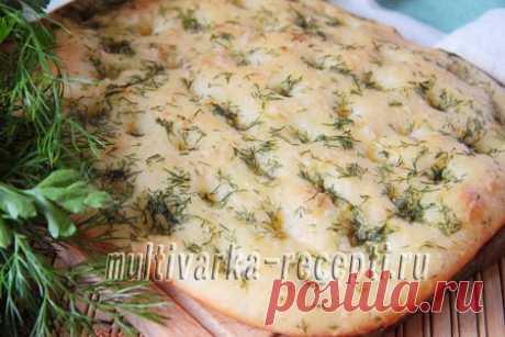 Фокачча на минералке с зеленью и чесноком, рецепт с фото