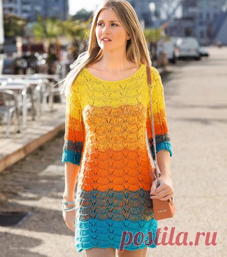 Платье спицами для женщин со схемами   Вязание   Яндекс Дзен