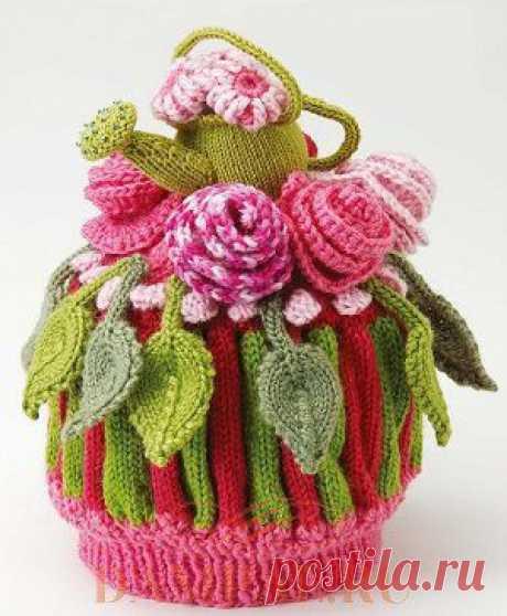 Вязаная грелка на чайник «Blooming gorgeous» | DAMские PALьчики. ru