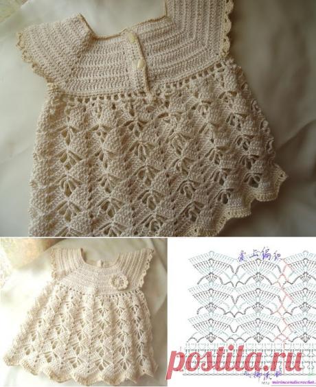 Knitting: an openwork dress for little women of fashion